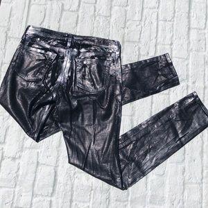 AG Geonetric Metallic Foil Legging skinny Jeans